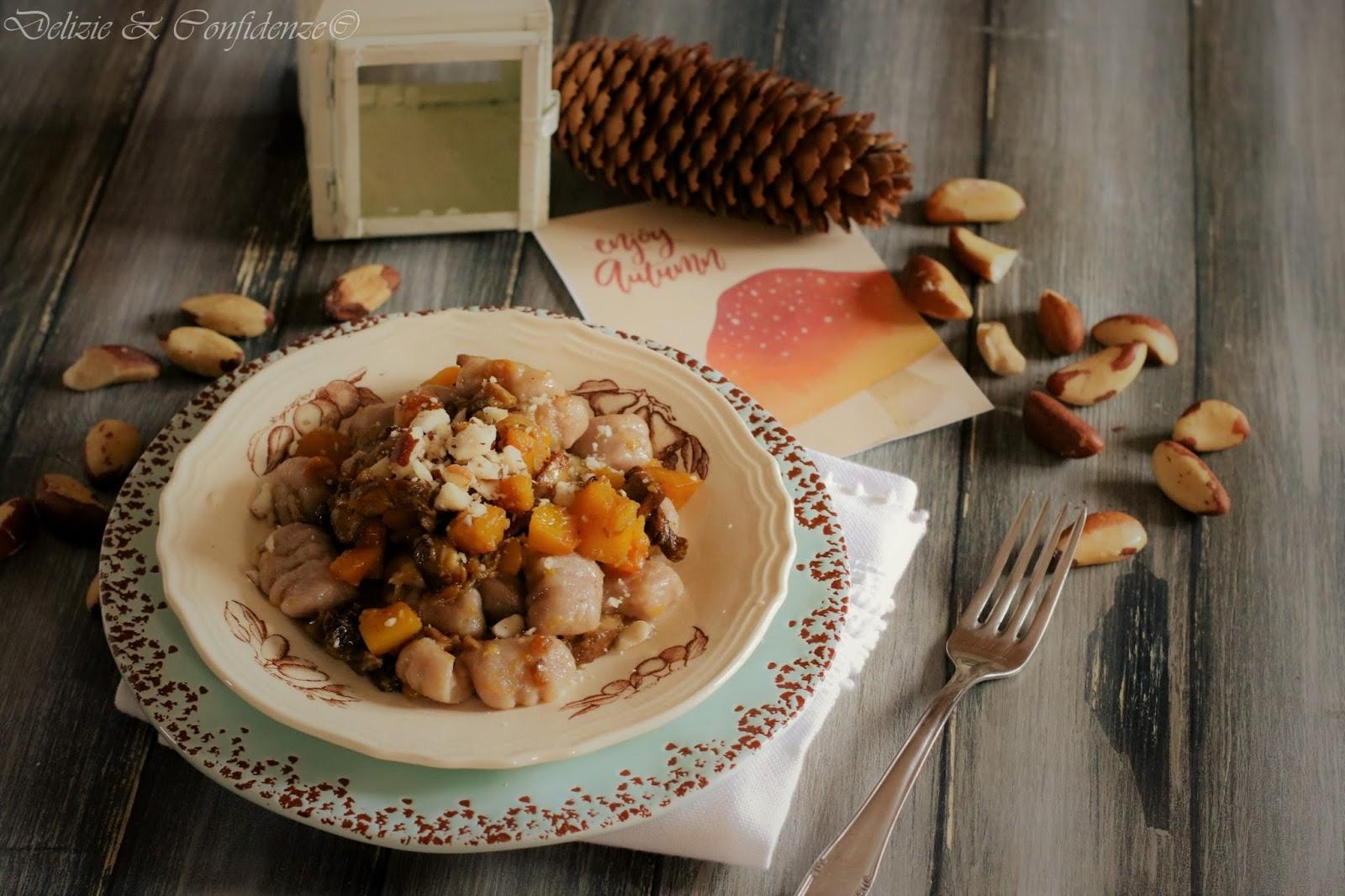 Ricetta Gnocchi Patate E Farina Di Castagne.Gnocchi Di Patate E Farina Di Castagne Con Funghi Porcini E Zucca Delizie Confidenze