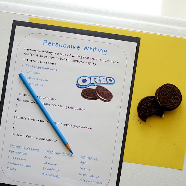 oreo cookies persuasive essays This introductory writing activity uses oreo cookies to expose students to the  concept of response writing (rather than simply regurgitating information.