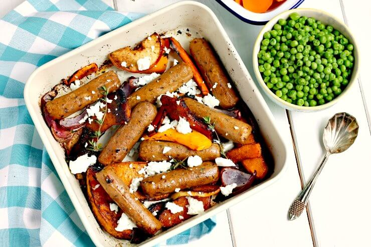 Sticky Quorn Sausage and Butternut Squash Traybake