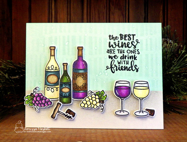 Wine card by Larissa Heskett  | Wine a Little and Coffee & Wine Stamp Sets by Newton's Nook Designs #newtonsnook #handmade #winestamps