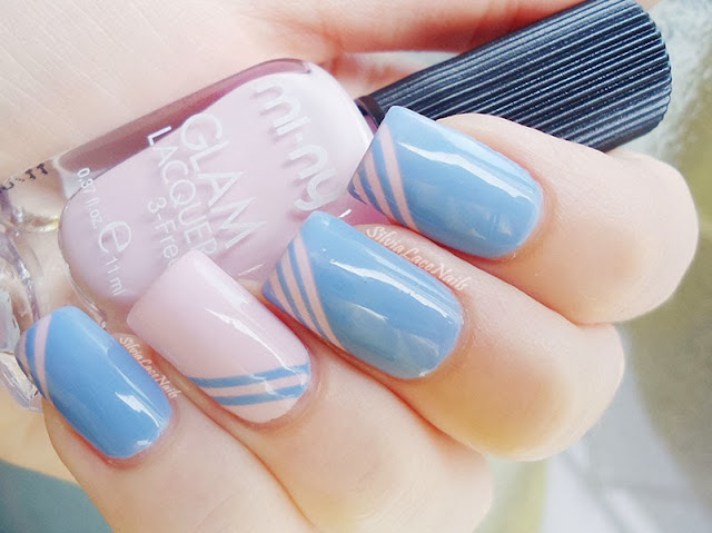 Silvia Lace Nails: Cotton candy stripes