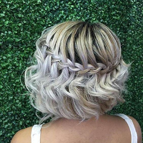 Waterfall Braid Wedding Hair Trending With Curls Ideas On Simple In Elegant Braided Hairstyles