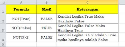 Fungsi Logika NOT Pada Microsoft Excel dan Microsoft Excel 2010, fungsi logika not, pengertian logika not, cara kerja logika not, kegunaan logika not, microsoft excel, belajar micosoft excel, belajar komputer, pengertian logika, macam macam logika,