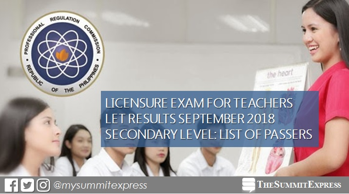 September 2018 LET Result Secondary level list of passers