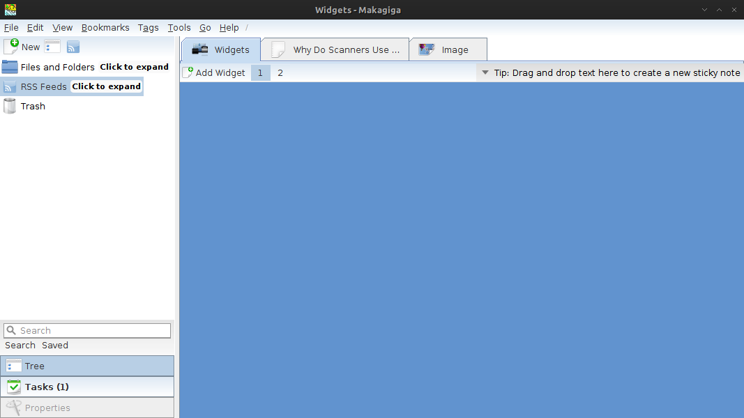 Makagiga - To do list, feed reader, text editing application in archlinux