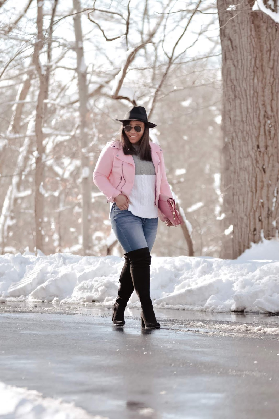 winter wonderland, mom bloggers, fashion bloggers, otk boots, winter hats, pink outfits, pink motto jacket, lookbookstore,knit sweater