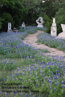 Carved Stone Sculpture Garden Path Hoggatt Family Dripping Springs Texas