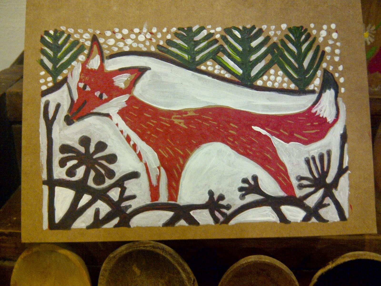 tinchapel textiles my lino cut christmas card