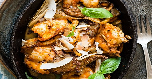 Baked Red Curry Shrimp With Oyster Mushrooms Recipe