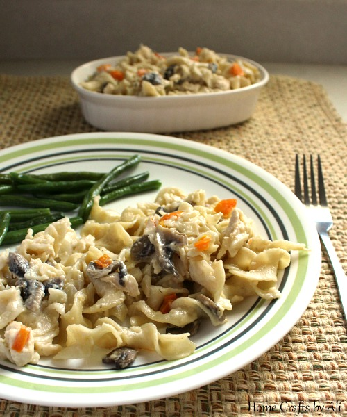 Serve creamy chicken casserole with fresh vegetable