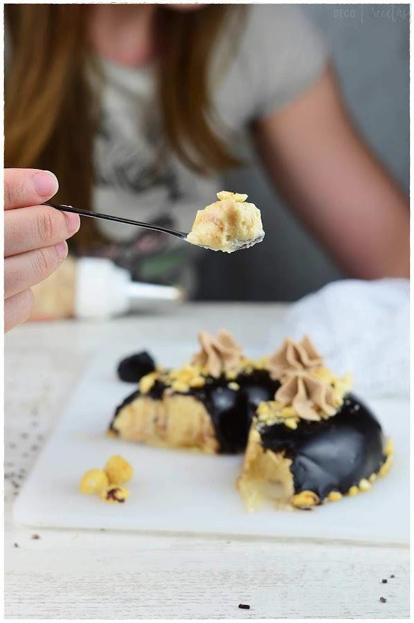 Tarta mousse de praliné con cobertura espejo de chocolate- avellanas- mousse de avellana- tarta mousse de avellana- tarta de avellana