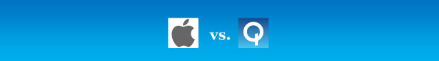graphic: Apple vs Qualcomm ©2017 DomainMondo.com