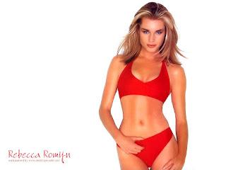 Rebecca Romijn Navel Show In Red Bikini