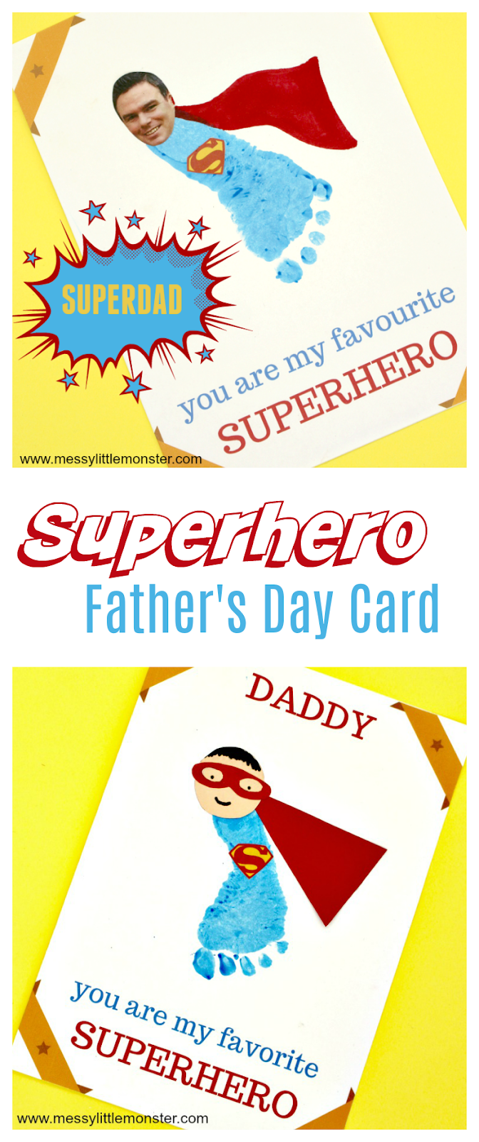 Free printable Superhero Father's Day card template. Make a superhero dad card as a first fathers day card with baby or as a toddler or preschoolers fathers day craft for a superdad.