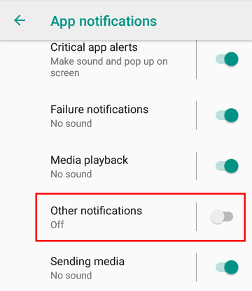 Other notifications settings