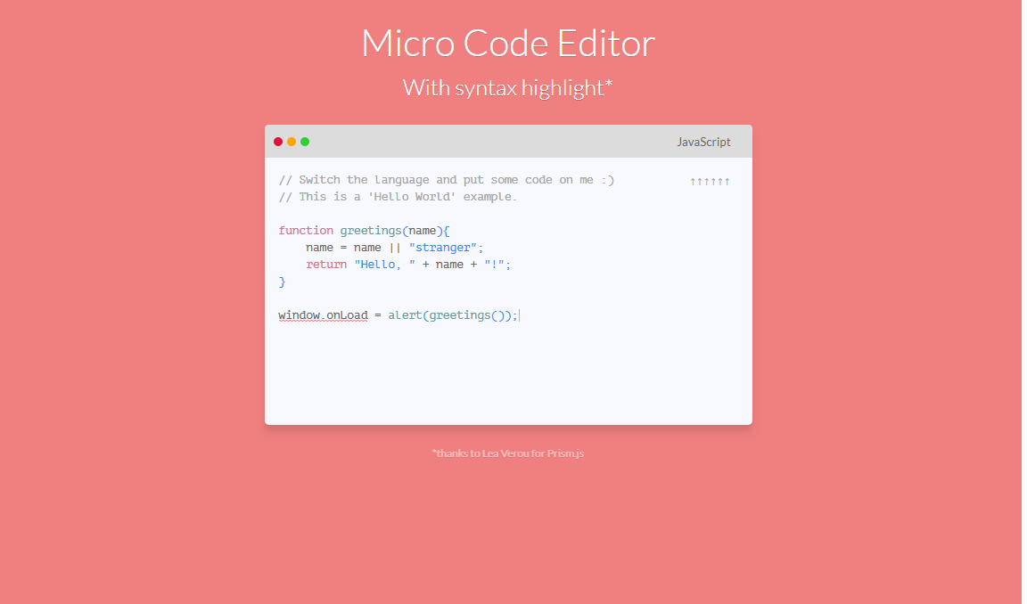 Micro Code Editor With Textarea Syntax Highlighter Javascript