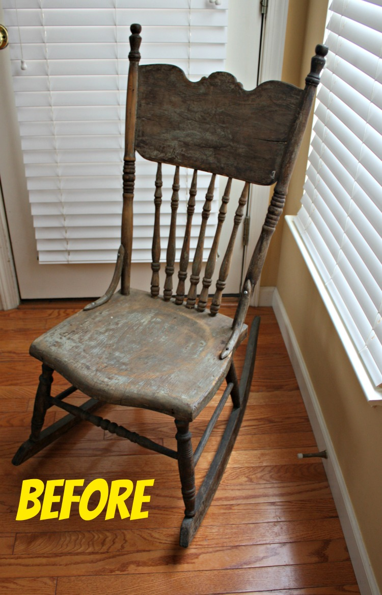 Before antique pressed back rocking chair
