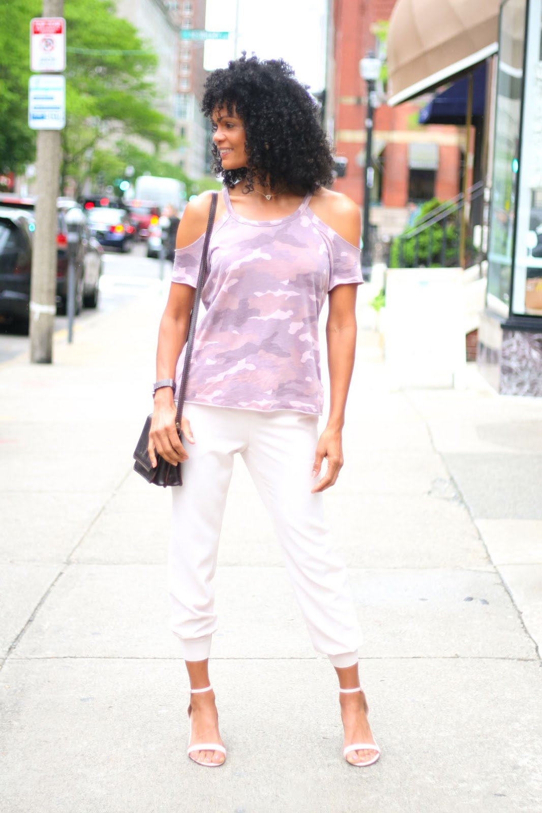 Over 40 fashion blogger Diane of Fashion on the 4th Floor in blush pink