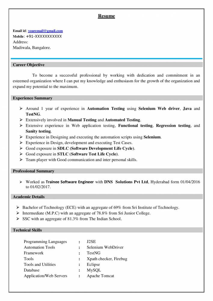 best software testing resume  example for freshers