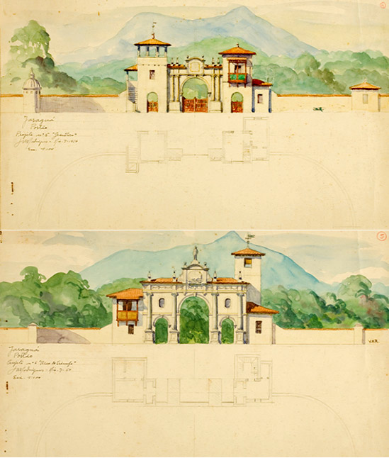 Portais para o Pico (aquarelas de Rodrigues datadas de 1950). Foto: acervo do Arquivo Histórico de São Paulo