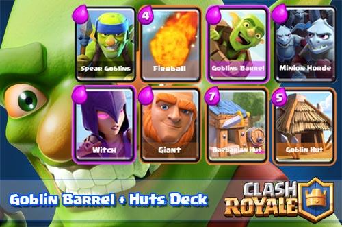 Strategi Serangan Goblin Barrel Dan Hut Deck Arena 4 Clash Royale
