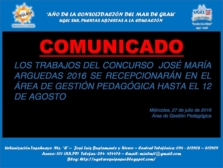 Recepci n de trabajos del concurso jos mar a arguedas for Plazas disponibles para el concurso docente 2016
