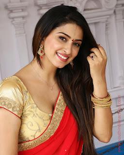 Eshanya Maheshwari Spicy Pics in Lovely Red Saree at Ammai Nachindi Movie Opening