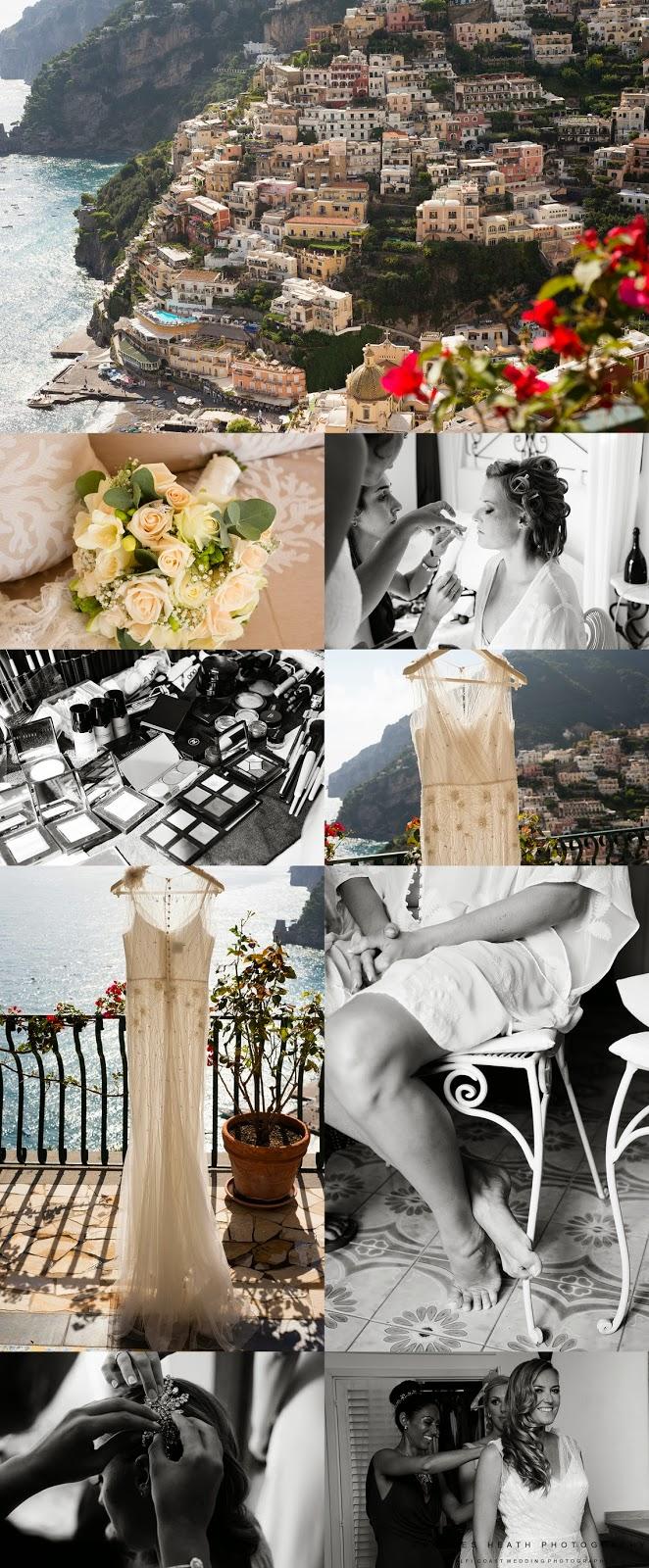Bride getting ready at Villa Oliviero in Positano