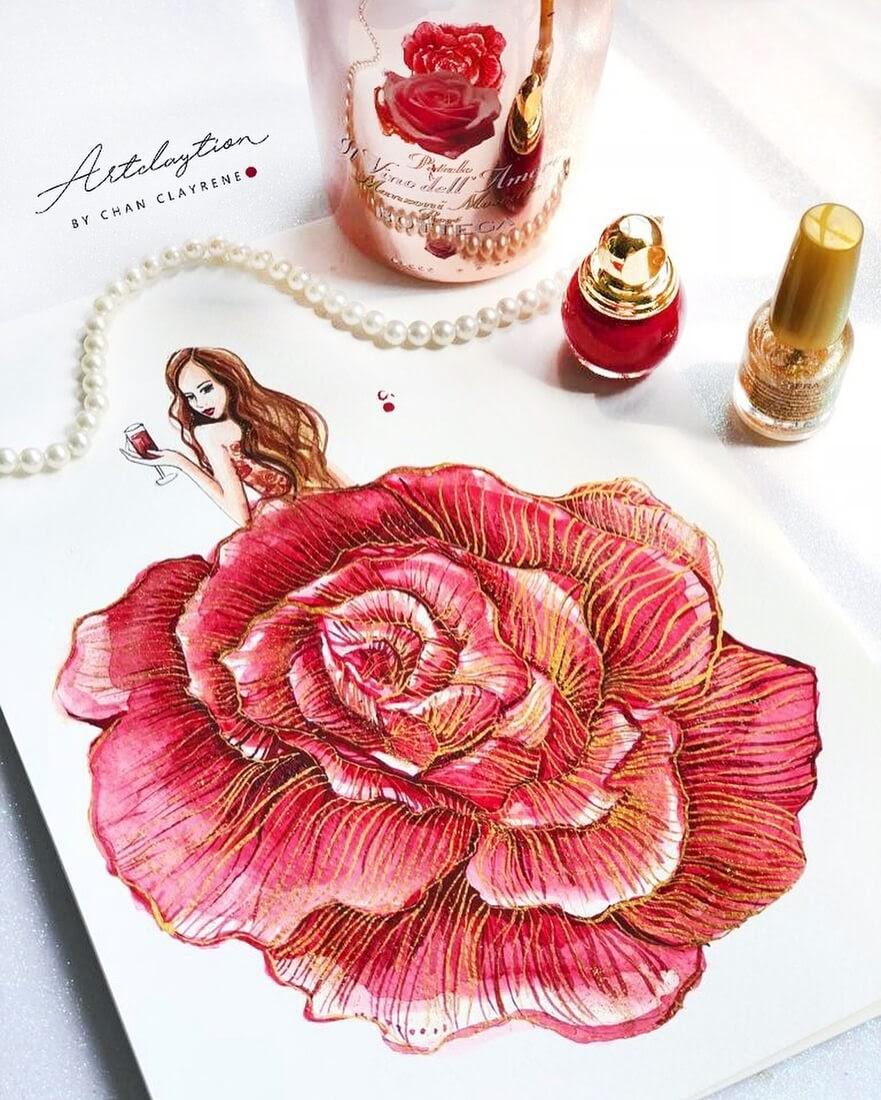 06-Flower-dress-Clayrene-Chan-Drawings-of-Lavish-Flowing-Dress-Designs-www-designstack-co