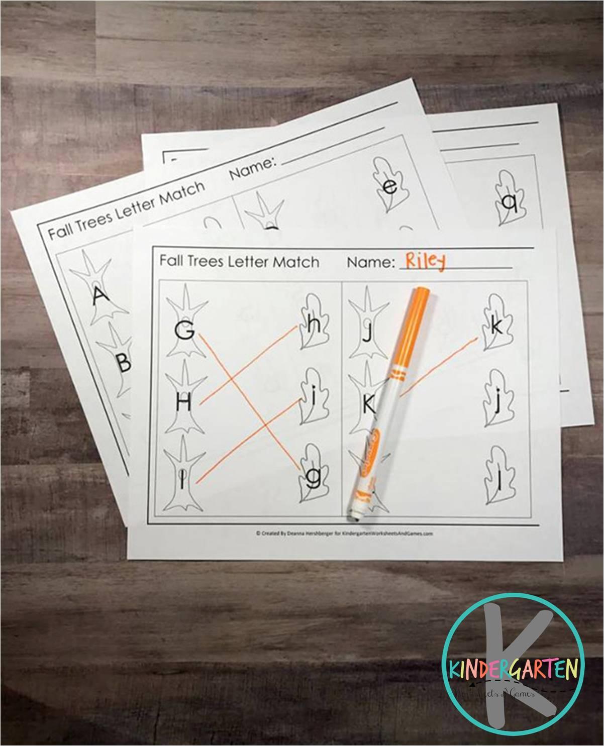 Kindergarten Worksheets And Games Free Fall Leaf Alphabet