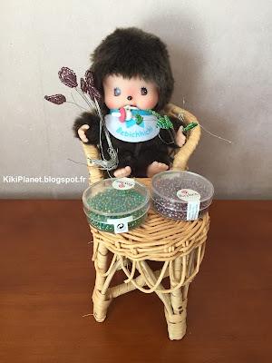 monchhichi, kiki, bebichhichi, fête des mères, perles, fleurs