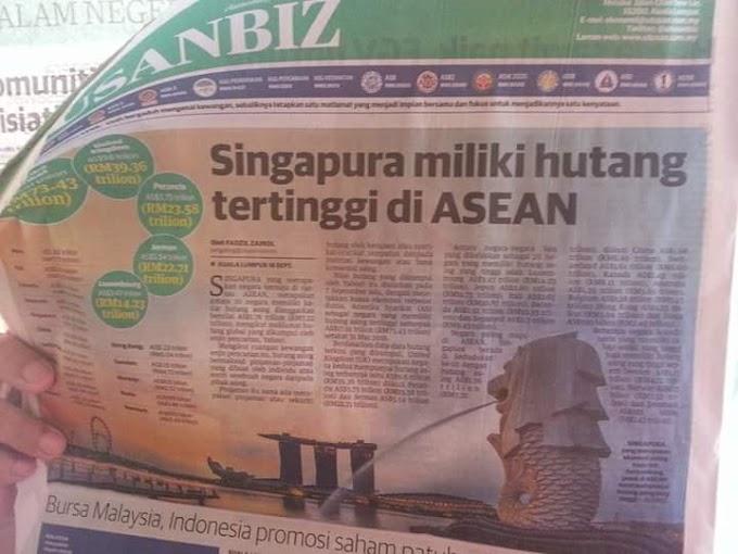 Siapa Kata Malaysia Nak Bangkrap, Singapura Miliki Hutang Paling Tinggi Di ASEAN