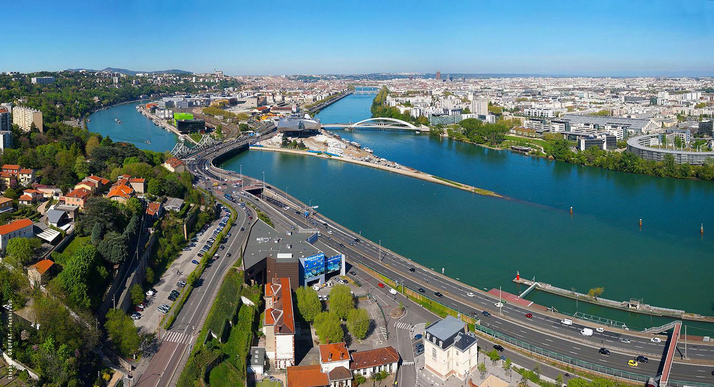 Vue aérienne de Lyon et de la confluence