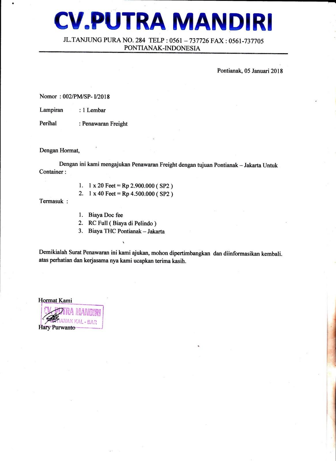 Contoh Surat Penawaran Freight Container Ra