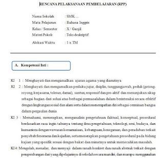 RPP Bahasa Inggris Kelas X Semester 1 Ganjil SMK Kurikulum 2013 doc terbaru
