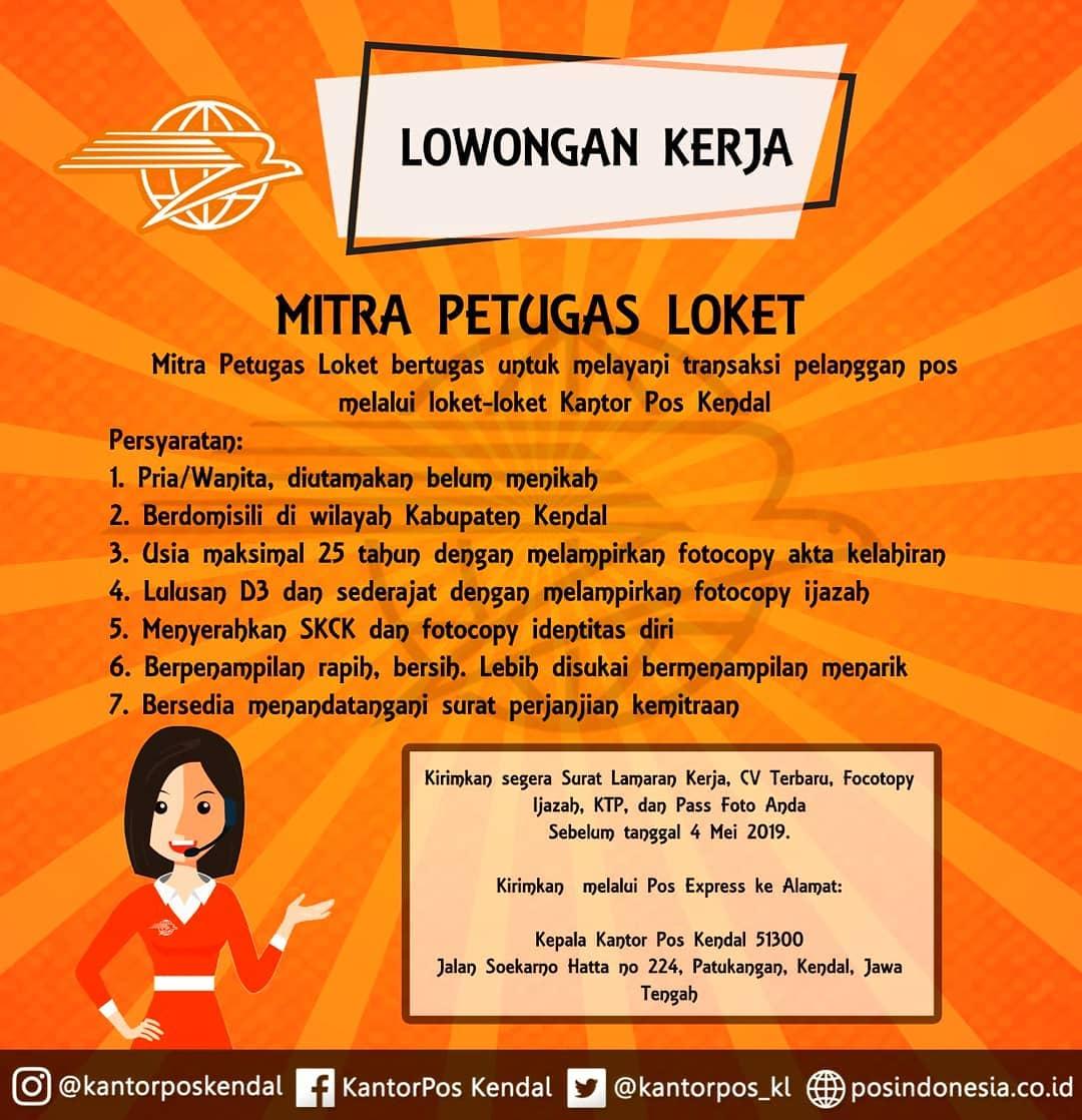 Lowongan Kerja PT Pos Indonesia (Persero) Cabang Kendal