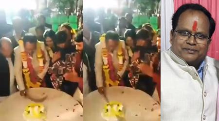 मप्र: तहसीलदार तपिश पांडे ने तलवार से काटा केक, फायरिंग हुई | MP NEWS