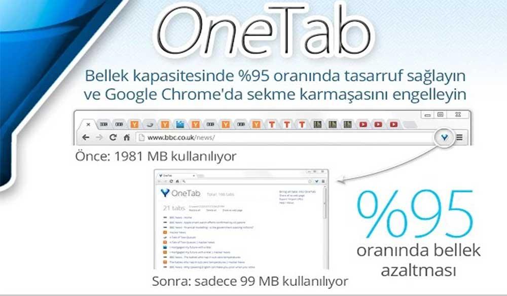 Chrome OneTab Eklentisi ile Tüm Sekmeleri Birleştirin