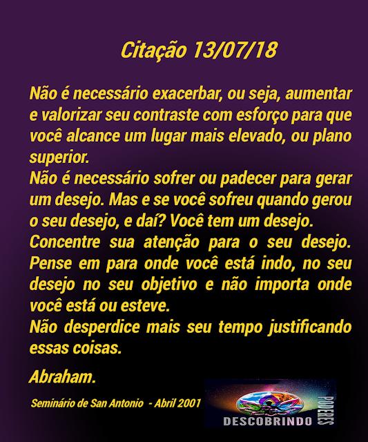 Citação diária Abraham Hicks - Citação do Dia 13/07/2018