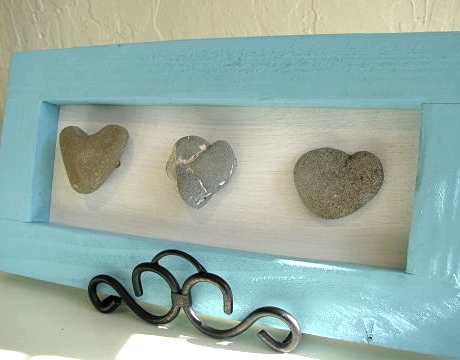 heart rocks framed