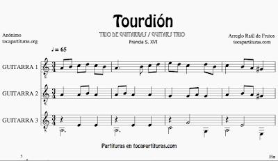 Turdión partitura para trío de Guitarras musica popular