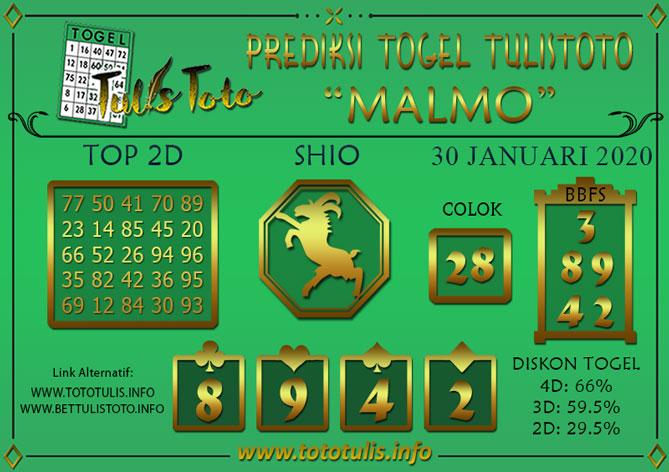 Prediksi Togel MALMO TULISTOTO 30 JANUARI 2020