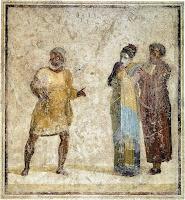 Escena de una comedia de Plauto. Pintura en el atrio de la casa de Publio Servilio Casca en Pompeya.
