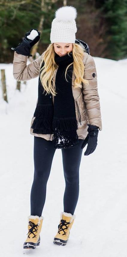 best winter outfit / hat + boots + jacket + leggings + knit scarf