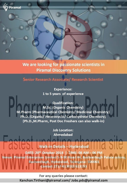 Piramal Discovery Solutions Walk In Interview For Freshers & Experienced at  20 October