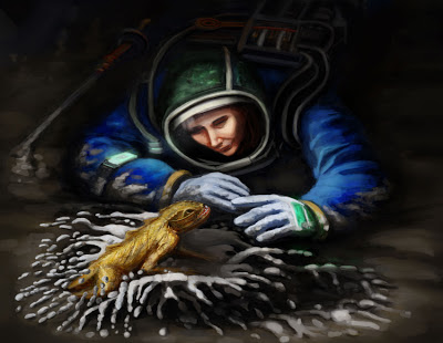 Digging For Gold science fiction illustration