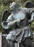 A winged Tengu Statue on Mount Takao