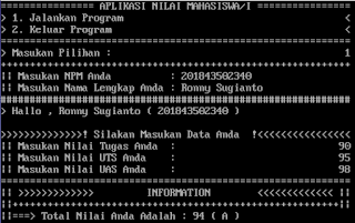 Contoh Program Sederhana Pascal - Nilai Mahasiswa/i & Rank (Function IF & Goto Label)