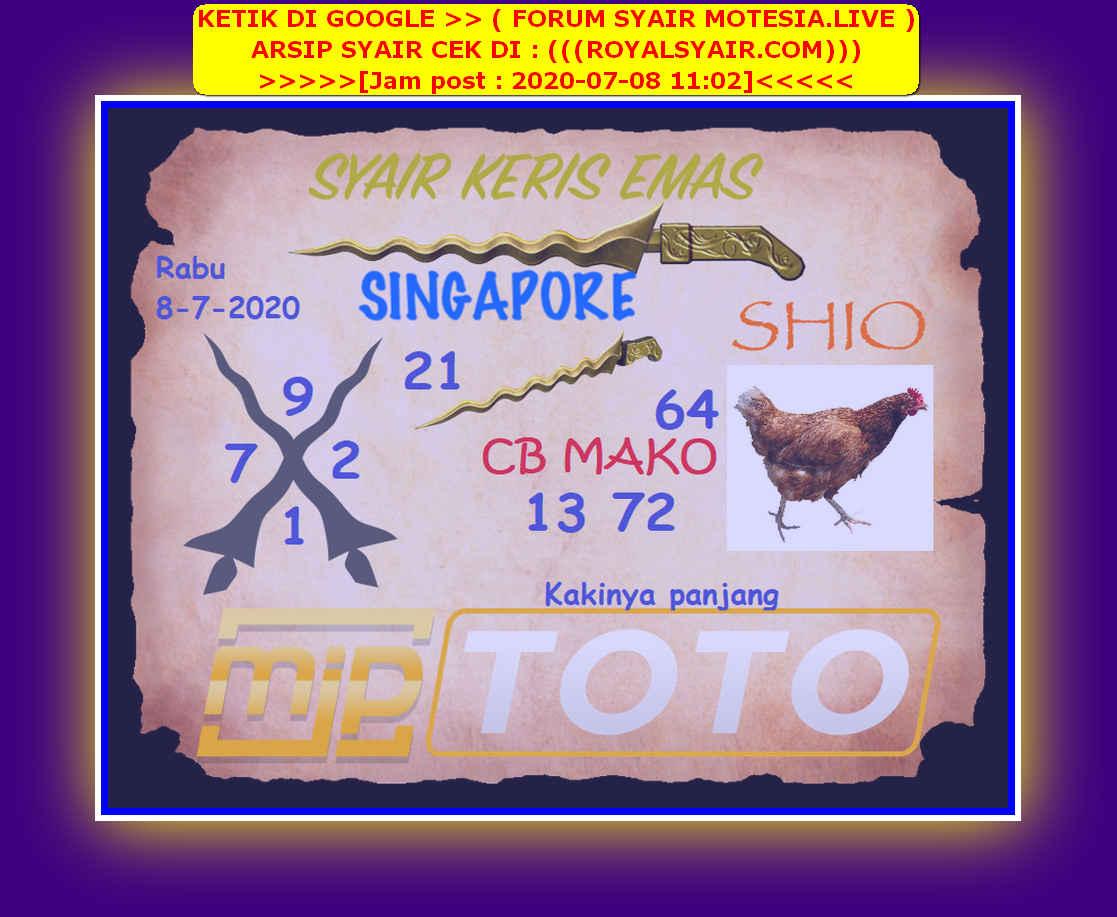 Kode syair Singapore Rabu 8 Juli 2020 97