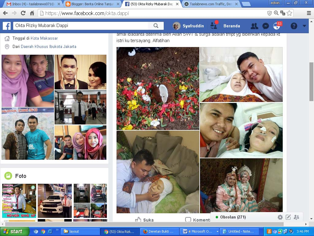 Akun facebook Okta Rizky Mubarak Dappi